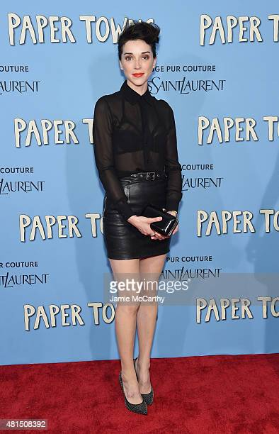 Musician Annie St Vincent Clark attends the New York premiere of Paper Towns at AMC Loews Lincoln Square on July 21 2015 in New York City