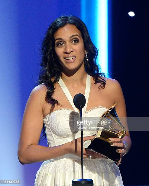 Musician Anoushka Shankar accepts Best World Music Album for 'The Living Room Sessions Part 1' on behalf of her father the late Ravi Shankar onstage...