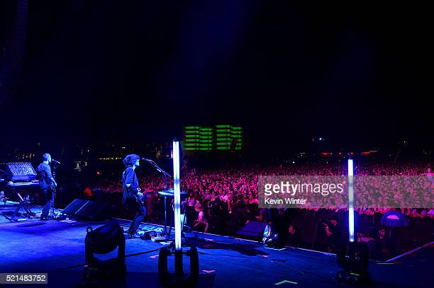 Musician Anthony Gonzalez of M83 perform onstage during day 1 of the 2016 Coachella Valley Music Arts Festival Weekend 1 at the Empire Polo Club on...