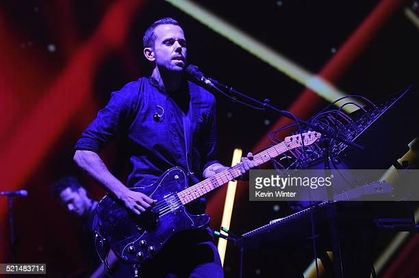 Musician Anthony Gonzalez of M83 performs onstage during day 1 of the 2016 Coachella Valley Music Arts Festival Weekend 1 at the Empire Polo Club on...
