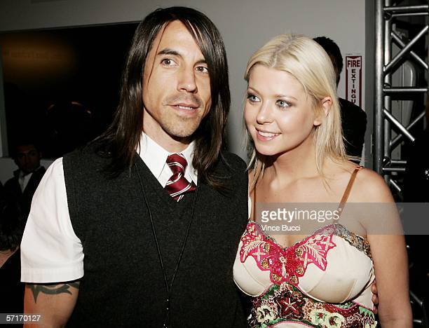 Musician Anthony Kiedis and actress Tara Reid in the front row at the Meghan Fall 2006 show during the Mercedes Benz Fashion Week at Smashbox Studios...