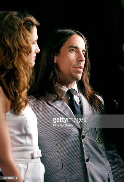 Musician Anthony Kiedis and guest arrive at Warner Music Group's 2007 Grammy Party held at The Cathedral on February 11 2007 in Los Angeles California