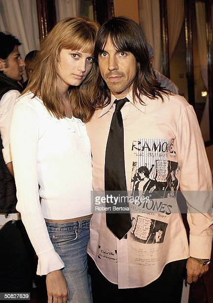 Musician Anthony Kiedis and guest attends the Playstation2 celebration for the Electronic Entertainment Expo at the Belasco Theater May 11 2004 in...