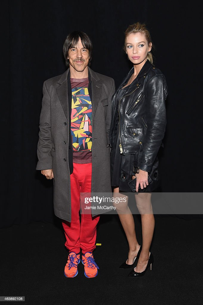 Musician Anthony Kiedis (L) and guest pose backstage at the Marc Jacobs fashion show during Mercedes-Benz Fashion Week Fall 2015 at Park Avenue Armory on February 19, 2015 in New York City.
