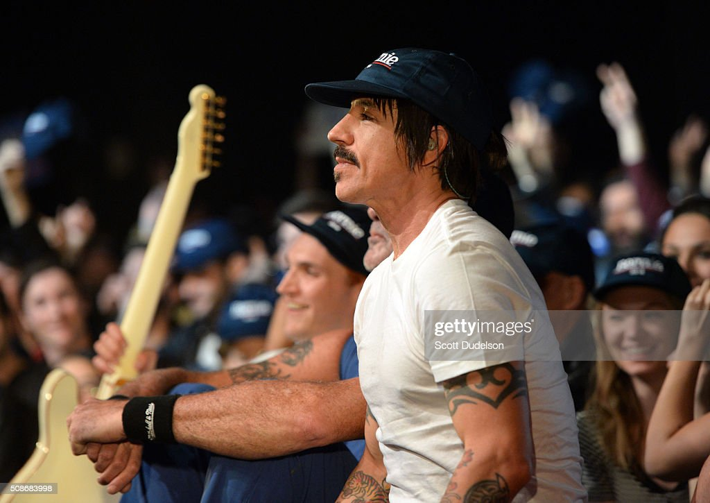 Musician Anthony Kiedis of the Red Hot Chili Peppers performs onstage during the 'Feel the Bern' fundraiser for Presidental candidate Bernie Sanders at Ace Theater Downtown LA on February 5, 2016 in Los Angeles, California.