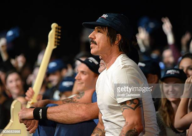 Musician Anthony Kiedis of the Red Hot Chili Peppers performs onstage during the Feel the Bern fundraiser for Presidental candidate Bernie Sanders at...