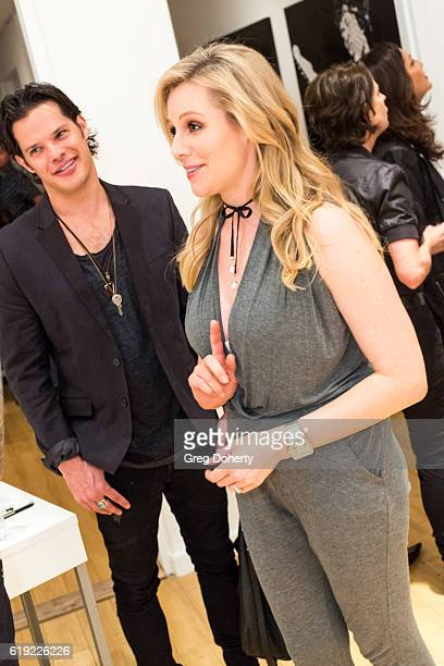 Musician Ari Welkom and Actress Abi Titmuss attend the Gallery Opening Of 'Social Distortion A Capsule Collection Of Fine Art By Billy Morrison' at...
