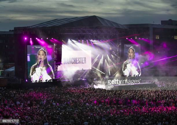 US musician Ariana Grande performs at the One Love Manchester benefit concert for the families of the victims of the May 22 Manchester terror attack...