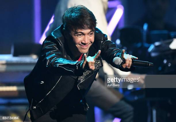 Musician Arnel Pineda of Journey performs Live at Nippon Budokan on February 7 2017 in Tokyo Japan