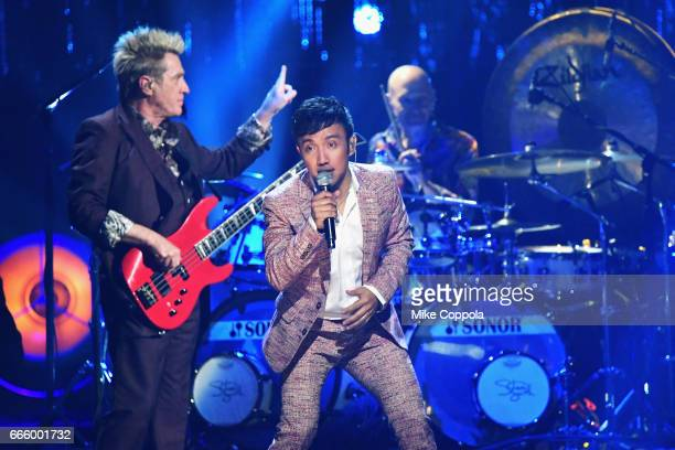 Musician Arnel Pineda of Journey performs onstage at the 32nd Annual Rock Roll Hall Of Fame Induction Ceremony at Barclays Center on April 7 2017 in...