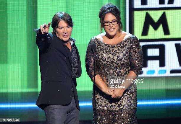 Musician Arthur Hanlon and actor Angelica Vale speak onstage during the 2017 Latin American Music Awards at Dolby Theatre on October 26 2017 in...