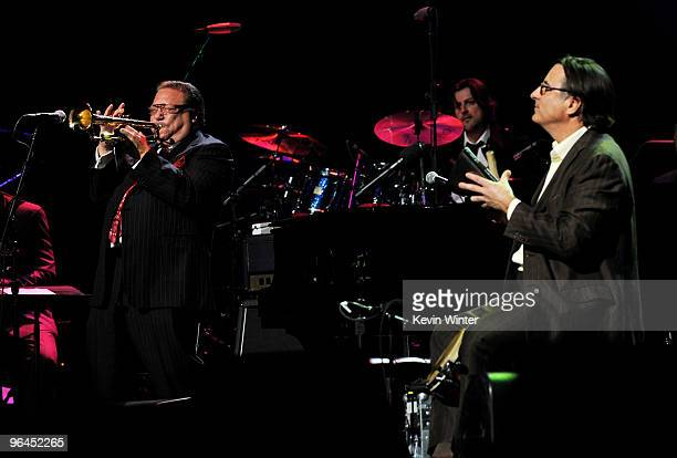 Musician Arturo Sandoval and actor/musician Andy Garcia perform onstage at Help Haiti with George Lopez Friends at LA Live's Nokia Theater on...