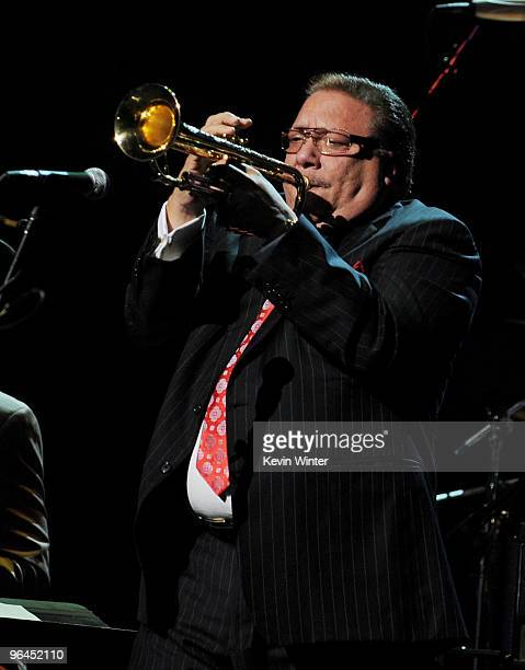 Musician Arturo Sandoval performs onstage at Help Haiti with George Lopez Friends at LA Live's Nokia Theater on February 4 2010 in Los Angeles...