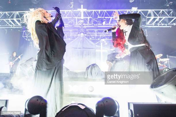 Musician Ash Costello of New Years Day joins Maria Brink of In This Moment on stage at Harrah's Resort Southern California on August 24 2018 in...
