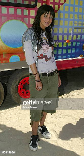 Musician Ashlee Simpson attends MTV's TRL Beach House Summer on the Run on June 2 2004 in Long Beach California