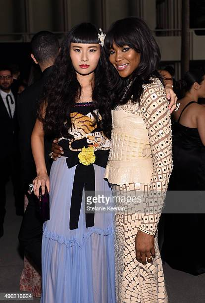 Musician Asia Chow, wearing Gucci, and model Naomi Campbell attend LACMA 2015 Art+Film Gala Honoring James Turrell and Alejandro G Iñárritu,...