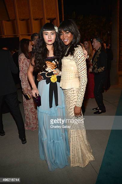 Musician Asia Chow, wearing Gucci, and model Naomi Campbell attends LACMA 2015 Art+Film Gala Honoring James Turrell and Alejandro G Iñárritu,...