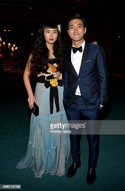 Musician Asia Chow wearing Gucci and singer Choi Siwon attend LACMA 2015 ArtFilm Gala Honoring James Turrell and Alejandro G Iñárritu Presented by...