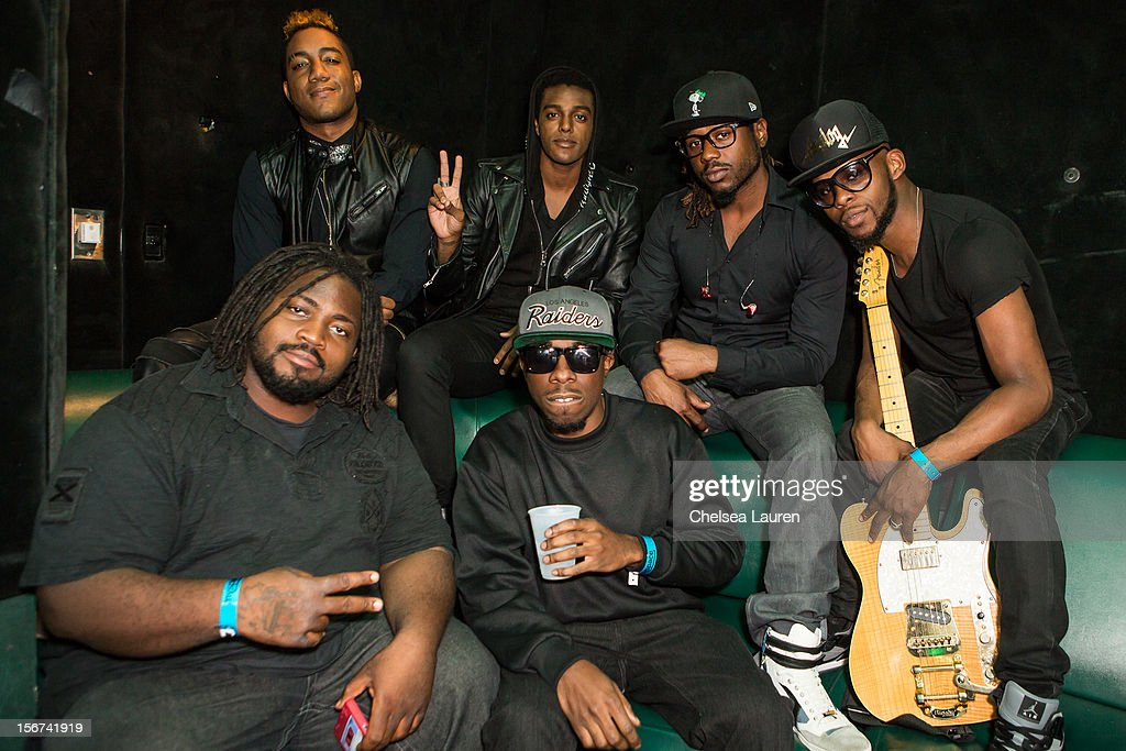 Musician Austin Brown (Top, 2nd from left) poses backstage at Myspace LIVE series at Key Club on November 19, 2012 in West Hollywood, California.