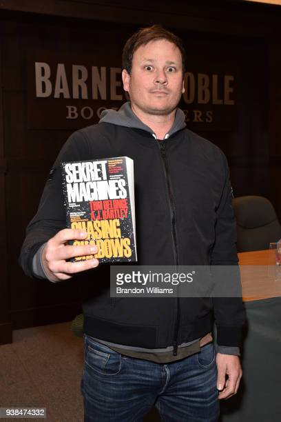 Musician / author Tom Delonge attends the signing and discussion of his new novel w/ AJ Hartley Sekret Machines at Barnes Noble at The Grove on March...