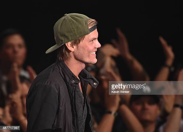 Musician Avicii accepts the EDM Song of the Year award for 'Wake Me Up' onstage during the 2014 iHeartRadio Music Awards held at The Shrine...