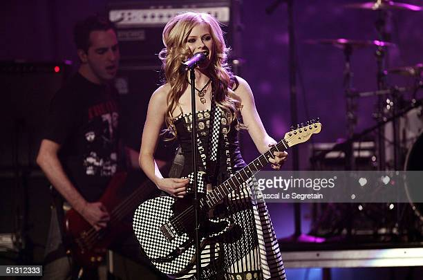 Musician Avril Lavigne is seen performing on stage during the 2004 World Music Awards at the Thomas and Mack Center on September 15 2004 in Las Vegas...