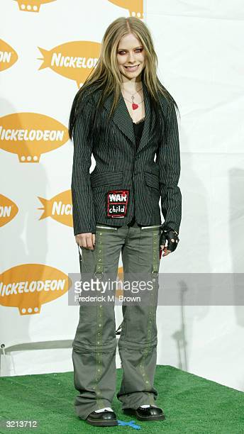 Musician Avril Lavigne poses backstage at Nickelodeon's 17th Annual Kids' Choice Awards at Pauley Pavilion on the campus of UCLA April 3 2004 in...