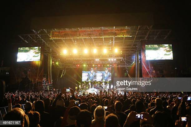 Musician Axl Rose of Guns N' Roses performs during 2014 Rock On The Range at Columbus Crew Stadium on May 16 2014 in Columbus Ohio