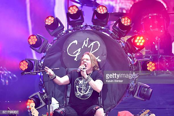 Musician Axl Rose of Guns N' Roses performs onstage during day 2 of the 2016 Coachella Valley Music Arts Festival Weekend 1 at the Empire Polo Club...