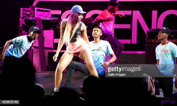 Musician Babes Wodumo performs during the Essence Festival All Star music concert at the Moses Mabhida Stadium on November 13 2016 in Durban South...