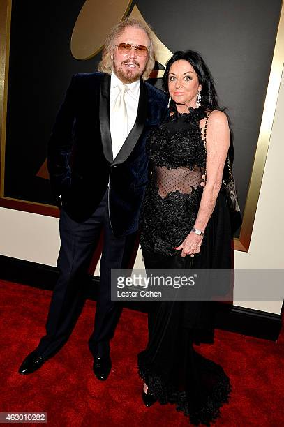 Musician Barry Gibb and Linda Gibb attend The 57th Annual GRAMMY Awards at the STAPLES Center on February 8 2015 in Los Angeles California