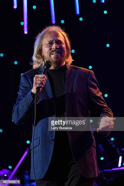 Musician Barry Gibb performs onstage during the PreGRAMMY Gala and Salute To Industry Icons honoring Martin Bandier at The Beverly Hilton Hotel on...