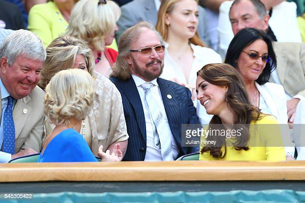 Musician Barry Gibb watches on from The Royal Box as Serena Williams of The United States plays Elena Vesnina of Russia in the Ladies Singles Semi...