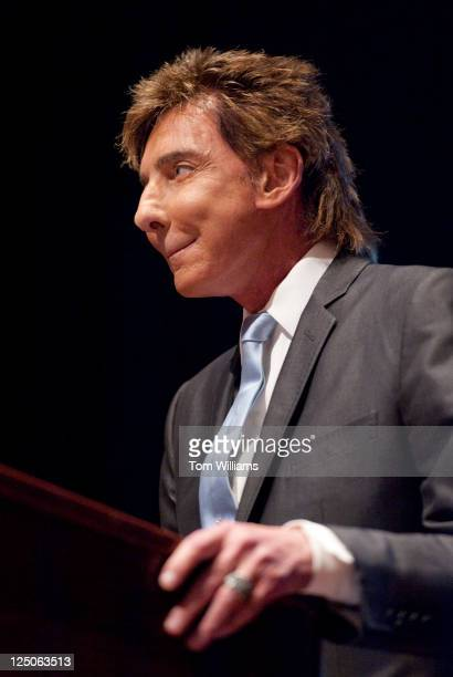 Musician Barry Manilow speaks at a briefing with the Congressional Heart and Stroke Coalition in the Capitol Visitor Center on his battle with atrial...