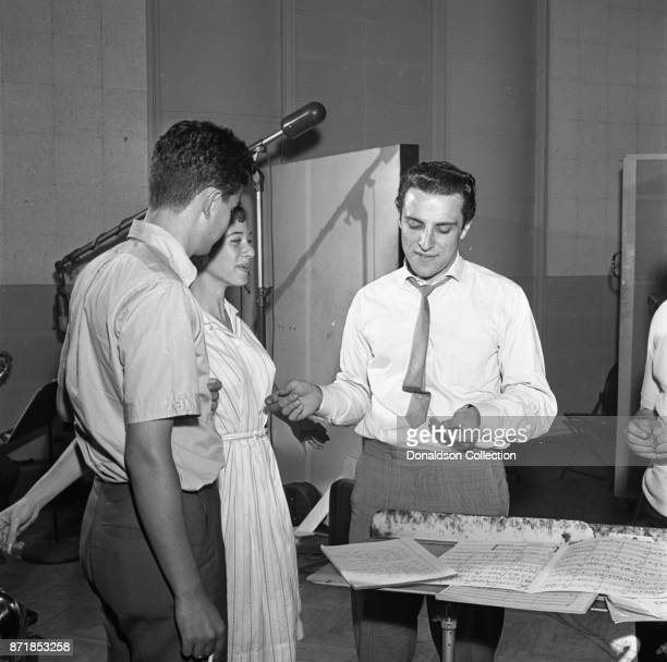 Musician Barry Mann records for JDS Records with Carole King and Gerry Goffin on July 18 1959 in New York