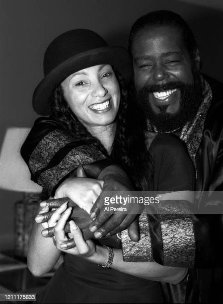 """Musician Barry White appears in a photo with MTV's """"Downtown"""" Julie Brown during a portrait session taken on October 8 in New York City."""