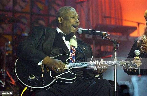 Musician BB King performs on stage during the13th Annual MusiCares Person Of The Year tribute at the Marriott Marquis February 21 2003 in New York...