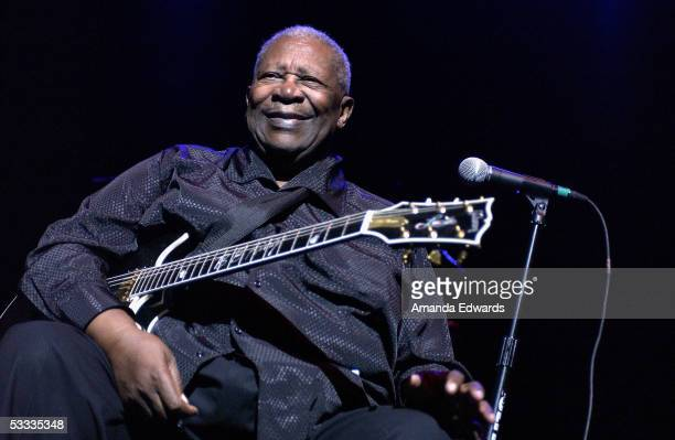 Musician B.B. King performs onstage at the Gibson Amphitheatre on August 6, 2005 in Universal City, California.