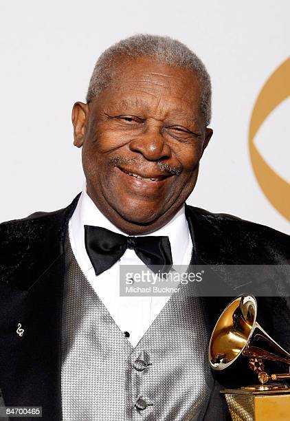 Musician BB King poses in the press room at the 51st Annual GRAMMY Awards held at the Staples Center on February 8 2009 in Los Angeles California