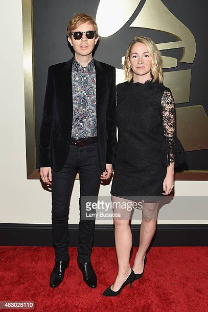 Musician Beck and actress Marissa Ribisi attend The 57th Annual GRAMMY Awards at the STAPLES Center on February 8 2015 in Los Angeles California