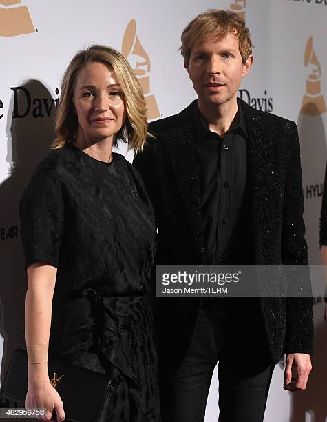Musician Beck and actress Marissa Ribisi attend the PreGRAMMY Gala and Salute To Industry Icons honoring Martin Bandier at The Beverly Hilton Hotel...