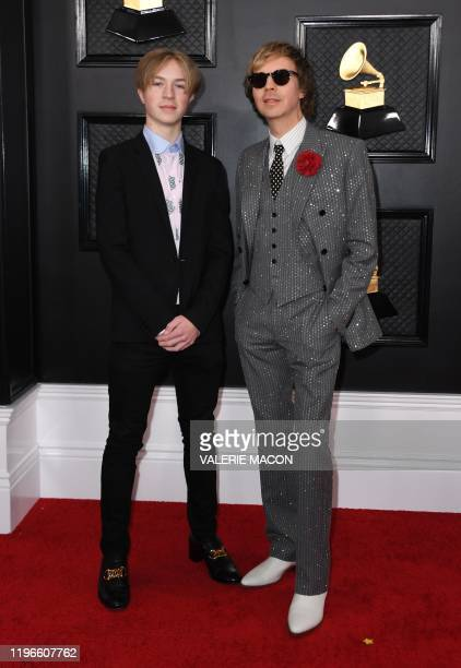 Musician Beck and his son Cosimo Hansen arrive for the 62nd Annual Grammy Awards on January 26 in Los Angeles.