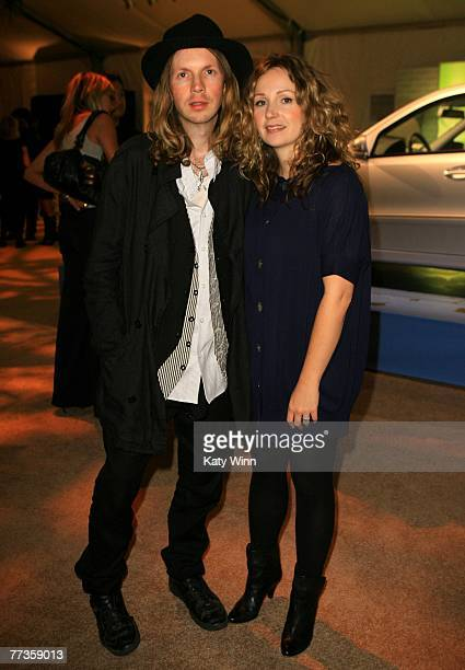 Musician Beck and wife designer Marissa Ribisi attend the Whitley Kros Spring 2008 fashion show after party during Mercedes Benz Fashion Week held at...
