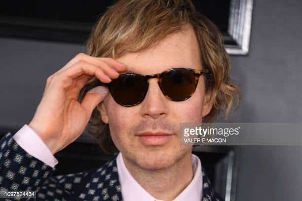 US musician Beck arrives for the 61st Annual Grammy Awards on February 10 in Los Angeles