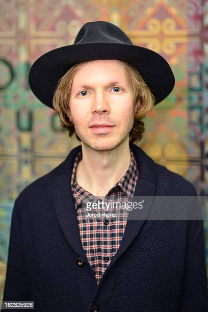 Musician Beck attends the Beck Song Reader exhibition opening held at Sonos Studio on February 21 2013 in Los Angeles California