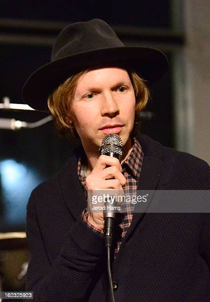 Musician Beck is interviewed onstage during the Beck Song Reader exhibition opening held at Sonos Studio on February 21 2013 in Los Angeles California