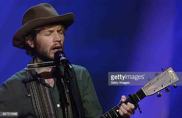 Musician Beck performs at the ReAct Now Music Relief benefit concert at Paramount Studios on September 9 2005 in Hollywood California The special...