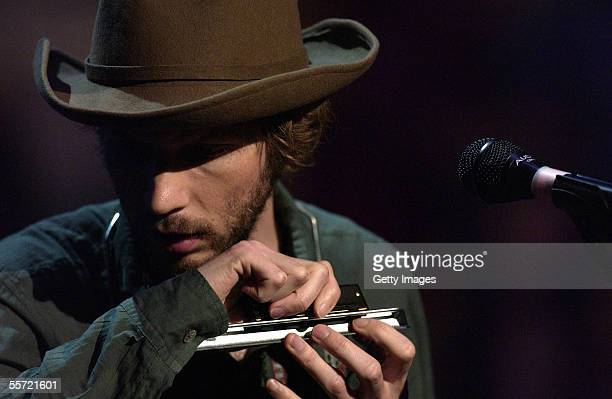 "Musician Beck performs at the ""ReAct Now: Music & Relief"" benefit concert at Paramount Studios on September 9, 2005 in Hollywood, California. The..."