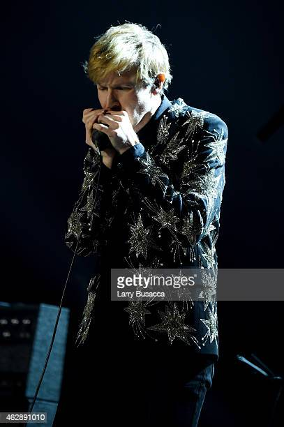 Musician Beck performs onstage at the 25th anniversary MusiCares 2015 Person Of The Year Gala honoring Bob Dylan at the Los Angeles Convention Center...