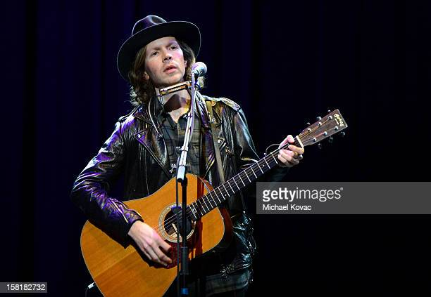 Musician Beck performs onstage at the WE HATE HURRICANES Comedy Benefit For AmeriCares at Club Nokia on December 10, 2012 in Los Angeles, California.
